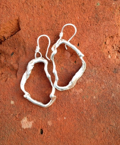 Freeform Link Sterling Silver Earrings