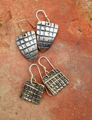 Sterling shield and alligator square earrings